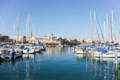 Marina- och fiskeporten av tunnlandet, Israel fotografering för bildbyråer
