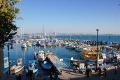 Marina- och fiskeporten av tunnlandet, Israel royaltyfri foto