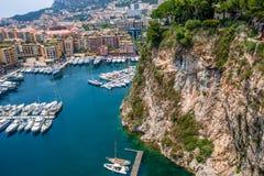 Marina och moderna byggnader i Monaco Arkivfoto
