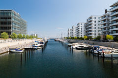 Marina and office buildings. Offices and boats on a sunny summer day in Hellerup, a suburb of Copenhagen, Denmark Royalty Free Stock Photography