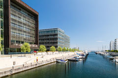 Marina and office buildings. Picture taken on a sunny summer day in Hellerup, a suburb of Copenhagen, Denmark Stock Image