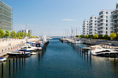 Marina and office buildings. A sunny summer day in Hellerup, a suburb of Copenhagen, Denmark Royalty Free Stock Photo