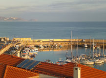 Marina at the Old Port of Heraklion in the Morning Sunlight, Crete Island Stock Image