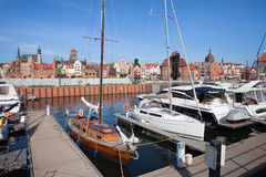 Marina and Old Town Skyline of Gdansk Stock Image