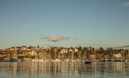 Marina in Oslo in the evening, golden lights of the sunset. royalty free stock photos