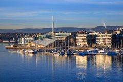 Marina in Oslo, Norway. Marina on waterfront of Oslo, Norway with blue skies on sunny day stock image