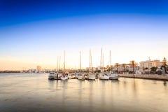 Marina på den Arade floden i Portimao, Portugal Arkivbild