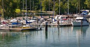 Marina på den Detroit floden Arkivbild