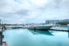 Marina på den Sentosa lilla viken, Singapore Fotografering för Bildbyråer