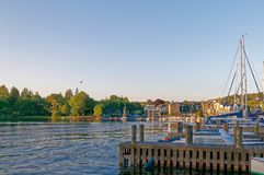Marina på sjön Windermere, sjöområde royaltyfri fotografi