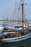 Marina packed with sailing boats on the Atlantic French coast stock image