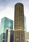 Marina parking building. Chicago, Illinois - September 5, 2015: Marina City is a complex of two 60-story towers built in 1964 in Chicago, USA. Apartments Royalty Free Stock Photos