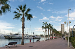 Marina and pedestrian alley, Spain Royalty Free Stock Photos