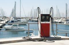 Marina petrol station. Yachts and gas dispenser stock photography