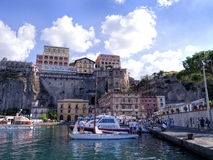 Marina Piccolo in Sorrento Italy. Steep Cliffs on the shoreline in Sorrento Italy stock images