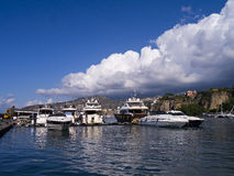 Marina Piccolo in Sorrento Italy. Steep Cliffs on the shoreline in Sorrento Italy stock photos