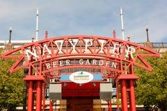 Marina Pier Beer Garden Sign immagine stock