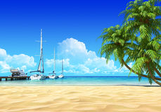 Marina pier and palms on idyllic tropical beach. No noise, clean, extremely detailed 3d render. Concept for rest, yachting, holidays, resort, spa design or Royalty Free Stock Images