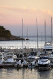 Marina pier with yachts at sunset in Croatia Royalty Free Stock Photography