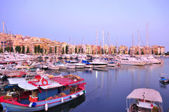 Marina in Piraeus, Greece. At Twilight time Stock Image