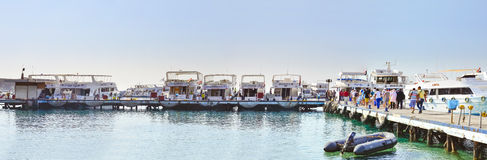 Marina: Pleasure sightseeing boats on the Parking lot of boat Pa Royalty Free Stock Image
