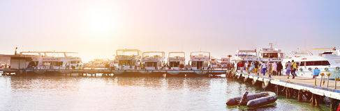 Marina: Pleasure sightseeing boats on the Parking lot of boat Pa Stock Photography
