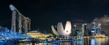 Marina Podpalana panorama, Singapur Obraz Royalty Free