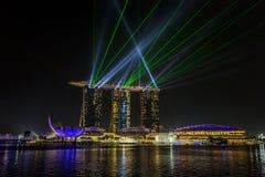 MARINA PODPALANI piaski, SINGAPUR LISTOPAD 05, 2015: Piękny laser s Zdjęcia Stock