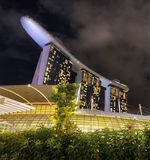 Marina Podpalani piaski w pieniężnym okręgu Singapur Zdjęcia Royalty Free