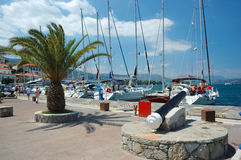 Marina at Poros island, Aegean sea,Greece Stock Photo