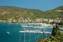 Marina at Poros island in Aegean sea,Greece Royalty Free Stock Photo