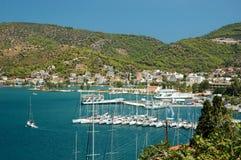 Marina at Poros island in Aegean sea,Greece royalty free stock photo
