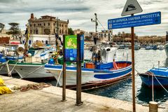 The Marina in the Port of Favignana royalty free stock images
