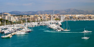 Marina port in Palma de Mallorca at Balearic Islands Stock Photos