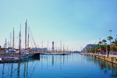 Marina port with teleferic tower and boats in Barcelona. Spain Royalty Free Stock Photography