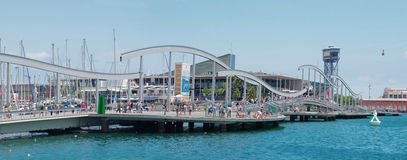 Marina Port Vell and the Rambla del Mar  in Barcelona Stock Photos
