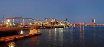 Marina Port Vell y la Rambla Del Mar, Barcelona Imagen de archivo