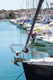 Marina and port in Weymouth with sailing yachts and motor boats stock photos
