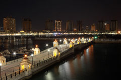Marina of Porto Arabia at night. Doha Stock Images