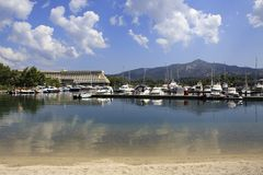 Marina in Porto Carras Meliton. Royalty Free Stock Image