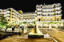 Marina Porto Montenegro in Tivat, Montenegro bis zum Nacht lizenzfreies stockfoto
