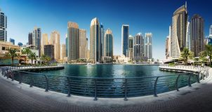 Marina Promenade in Dubai-Stadt, UAE stockbilder