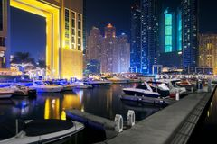 Marina Promenade in Dubai-Stadt, UAE stockfotos