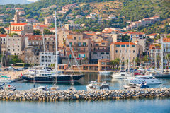 Marina of Propriano resort town, South Corsica. Propriano, France - July 4, 2015: Small marina of Propriano resort town, South region of Corsica island, France Stock Photography