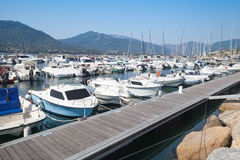 Marina of Propriano town, South Corsica. Propriano, France - July 3, 2015: Marina of Propriano town, South region of Corsica island, France. Luxury pleasure Stock Images