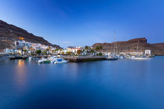 Marina of Puerto de Mogan at night Stock Photos