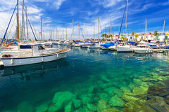 Marina of Puerto de Mogan, a small fishing port on Gran Canaria Royalty Free Stock Photos