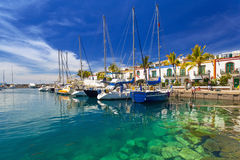 Marina of Puerto de Mogan, a small fishing port on Gran Canaria. Spain stock image