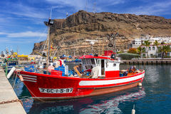 Marina of Puerto de Mogan, a small fishing port on Gran Canaria Stock Image