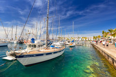 Marina of Puerto de Mogan, a small fishing port on Gran Canaria Royalty Free Stock Images